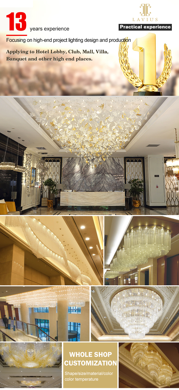professional customized villa chandelier