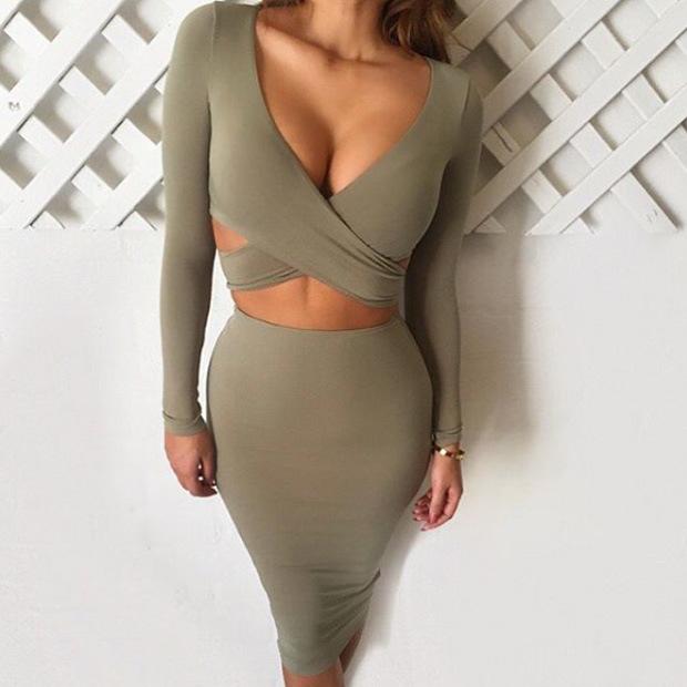 Fashion OEM Dress Ladies Long Sleeve Sexy Bandage Bodycon Mini Dress