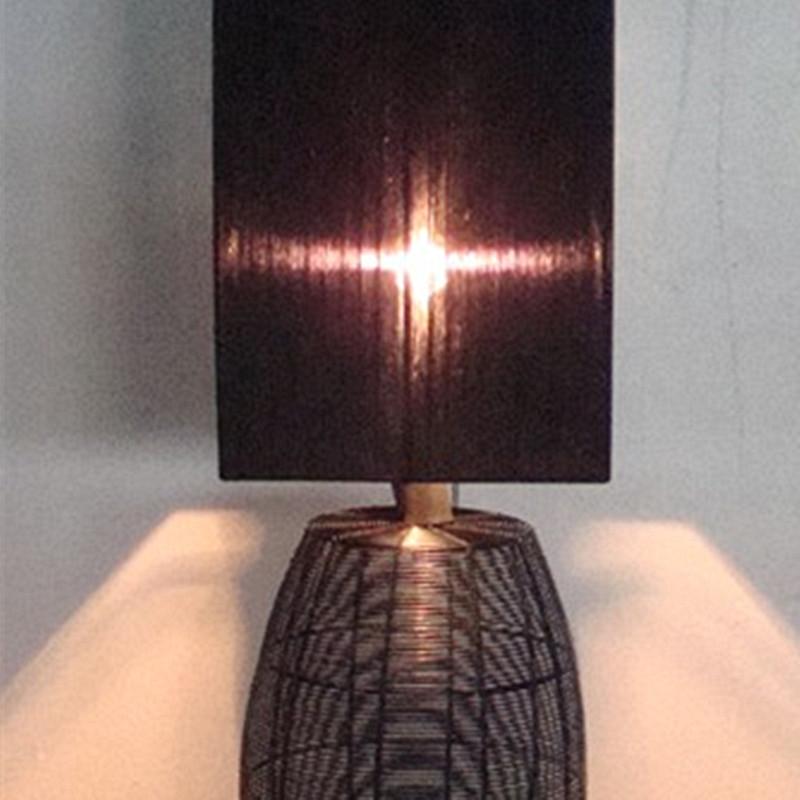 Hotel Decorative Black Organza Fabric Shade Bedside Table Lamp