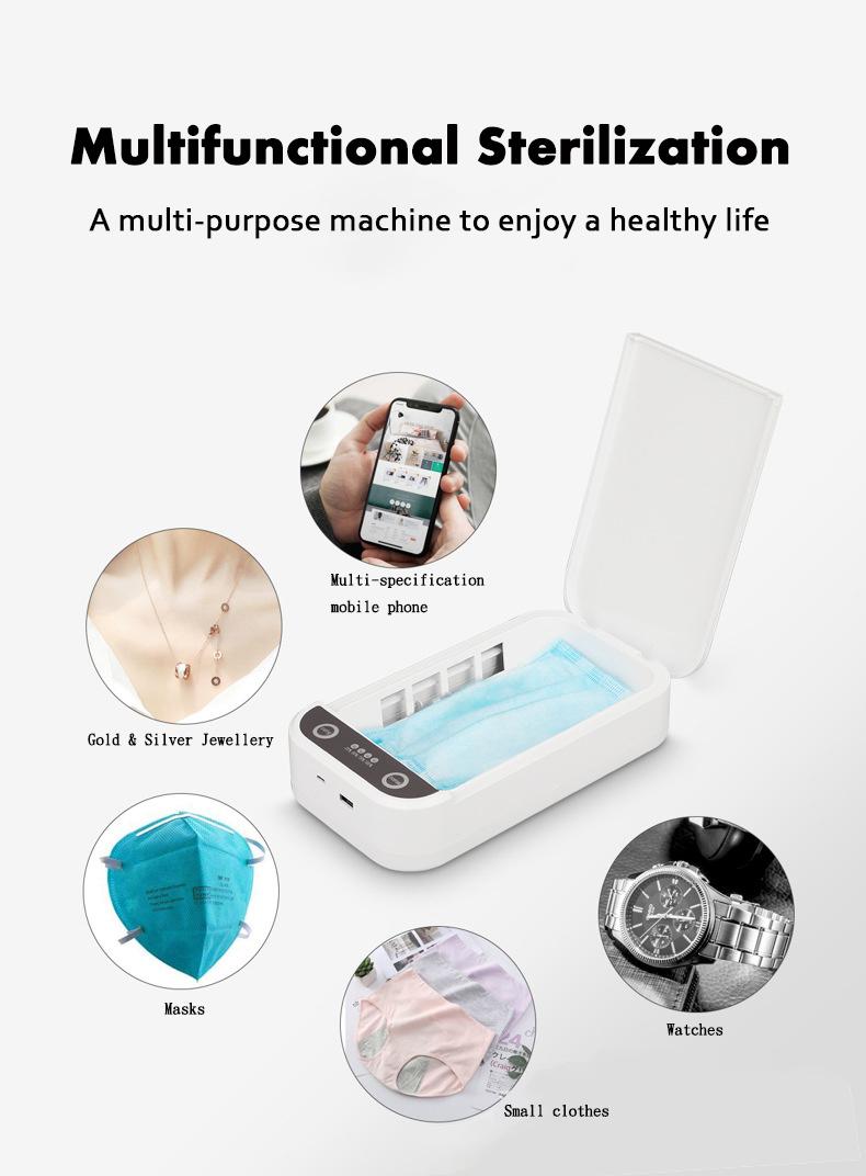 Caixa de desinfecção de luz ultravioleta para smartphone de carregamento USB para caixa esterilizadora de smartphone ultravioleta para celular
