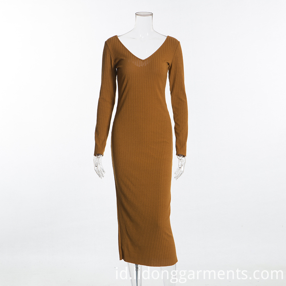 Casual Wear Long Sleeve Knitted dress