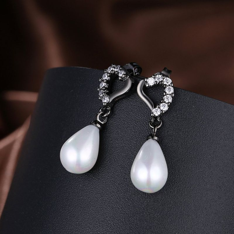 Fashion Jewelry Gun Black Plated Earrings with Imitation Pearl