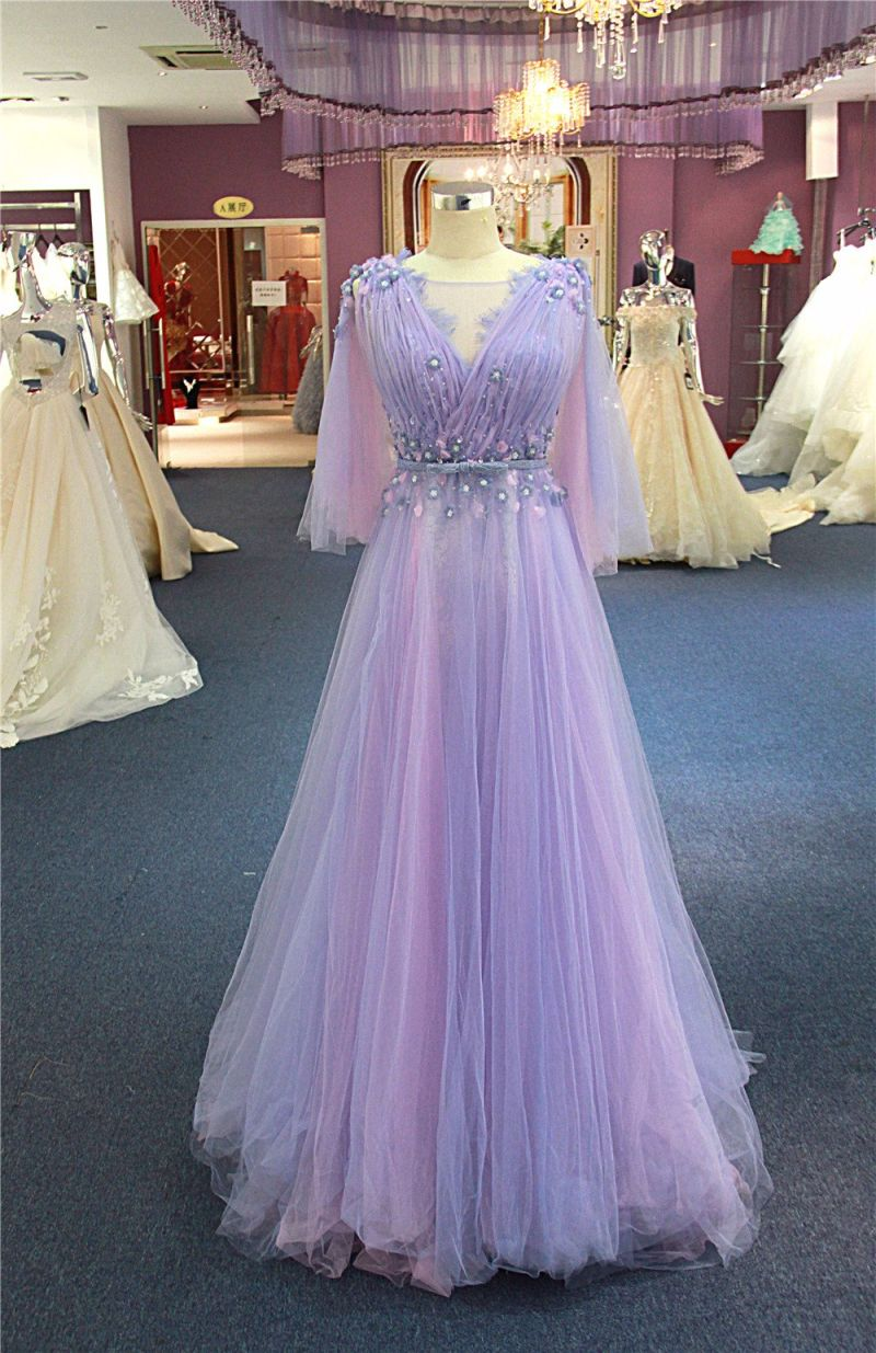Purple Beading Flower Evening Party Gowns