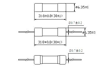 Glass Tube Fuse 6.3*30 mm (single cap with A Line)