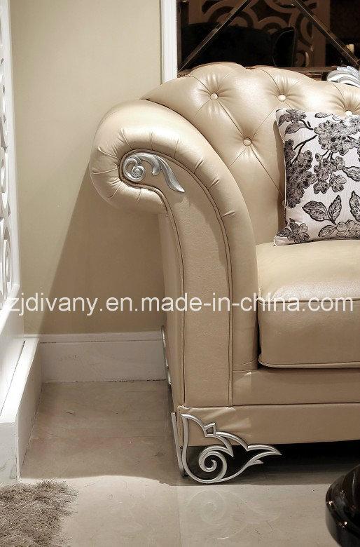 Neo-Antique Modern White Leather Sofa Fabric Sofa (LS-1109A & B & C)