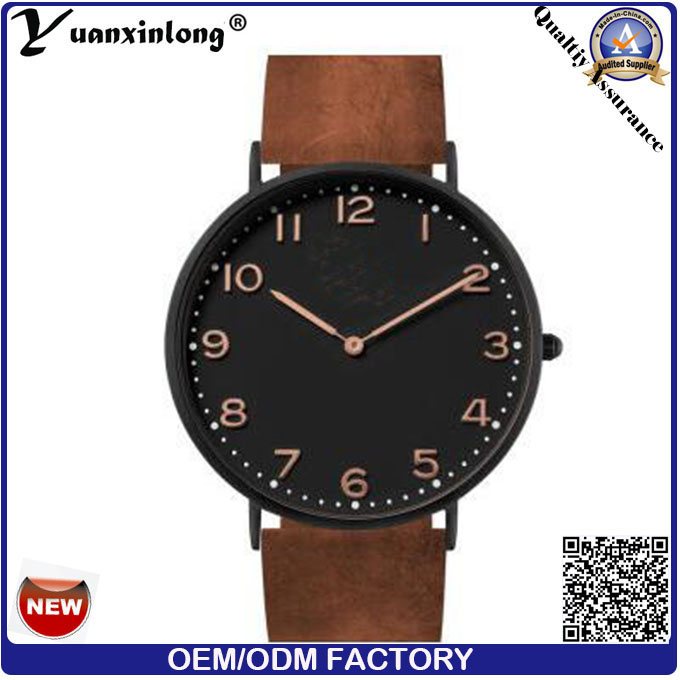 Yxl-740 Black Mens Watches Guangzhou Wrist Watch Mens Brown Leather Watch