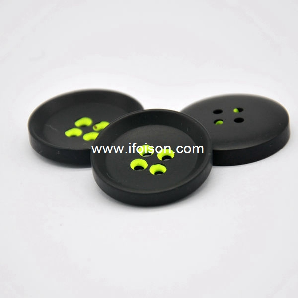 Polyester button with colorful hole