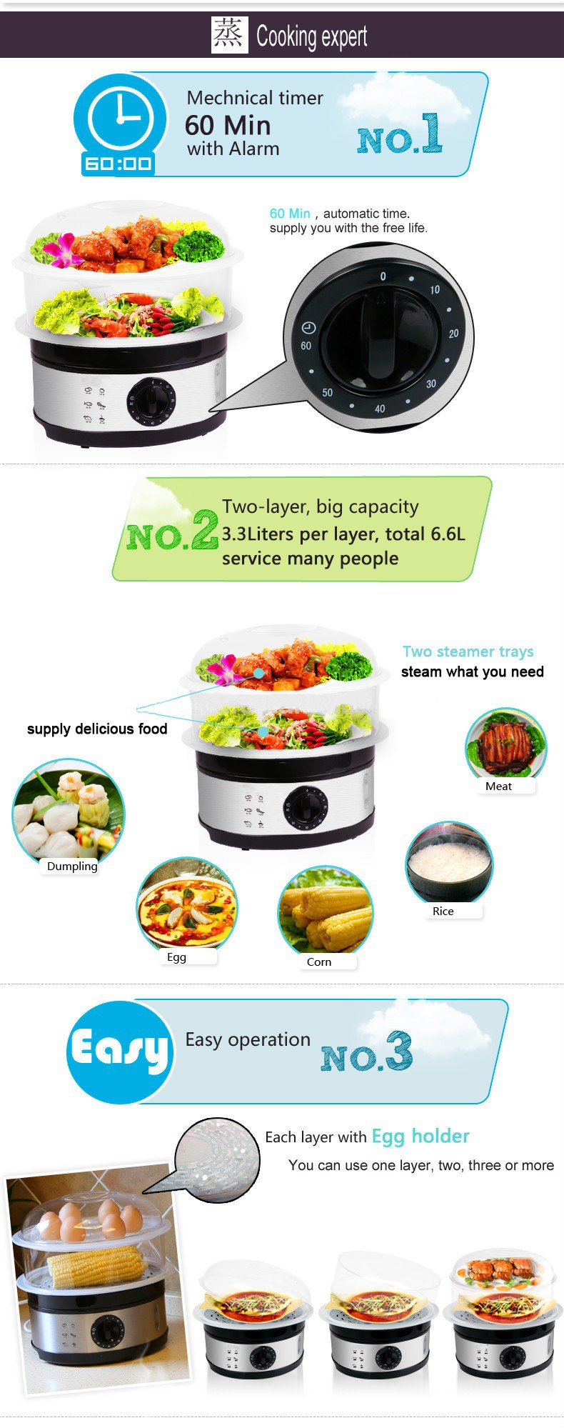 3 Layer Digital Electric Steam Cooker with Stainless Steel Housing