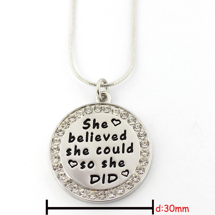 Fashion Jewelry Customerized Engraved Texts Round Pendant Necklace