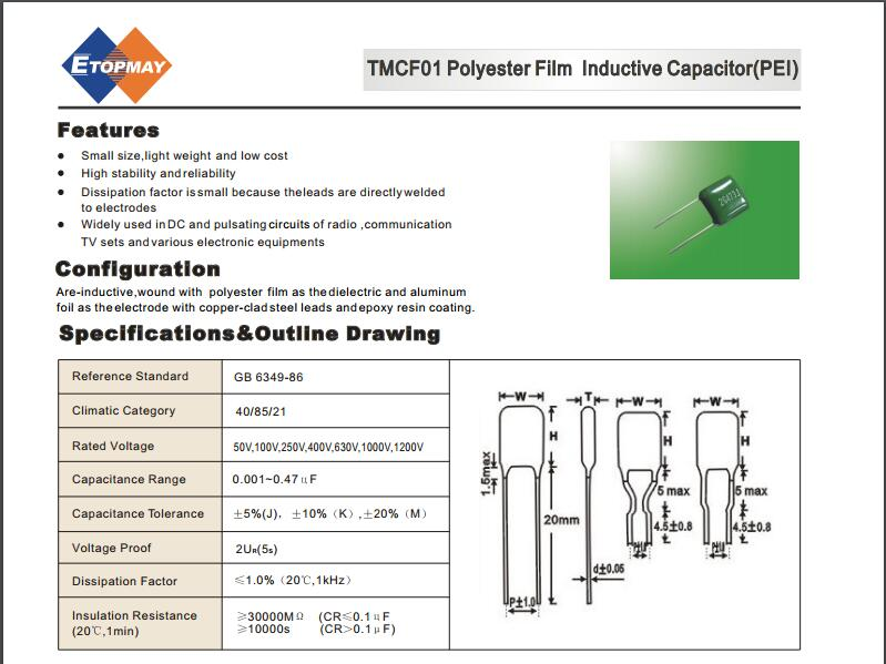 Topmay Excellent Perform Green Polyester Film Capacitor Tmcf01 Cl11