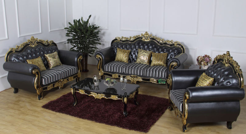 Leather Sofa with Wood Sofa Frame and Side Table (D929F)