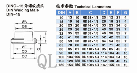 Sanitary Stainless Steel 11851 DIN Union Welding Male