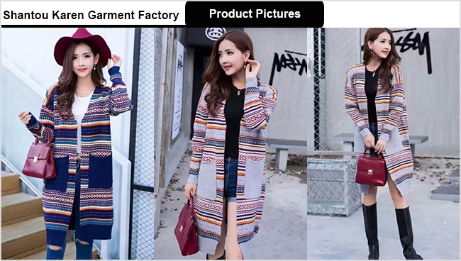 Latest Fashion Striped Women Knit Sweater Cardigan