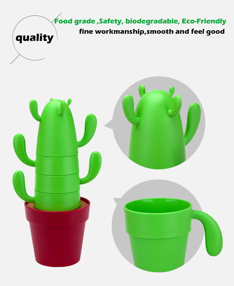 PLA Biodegradable Compostable Cactus Cups Set Mug Artistic Products