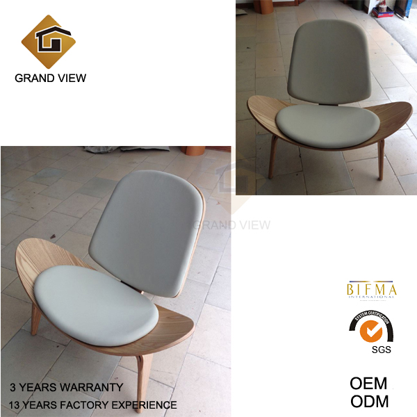 Fabric Cushion Lounge Wood Shell Chair (GV-CH07)