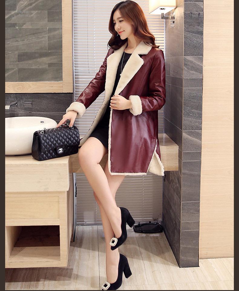 Long Shearling Leather Coat Black Leather Coat Long Style for Women Fur Coat