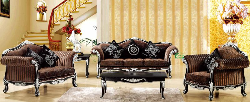 Fabric Sofa with Wooden Sofa Frame and Side Table (650C)