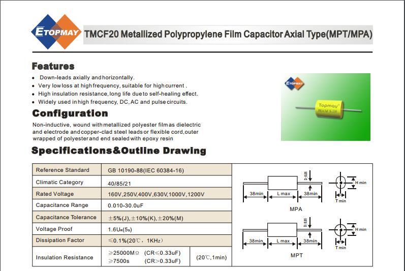 400V Oval Cbb20 Axial Metalized Polypropylene Film Capacitor