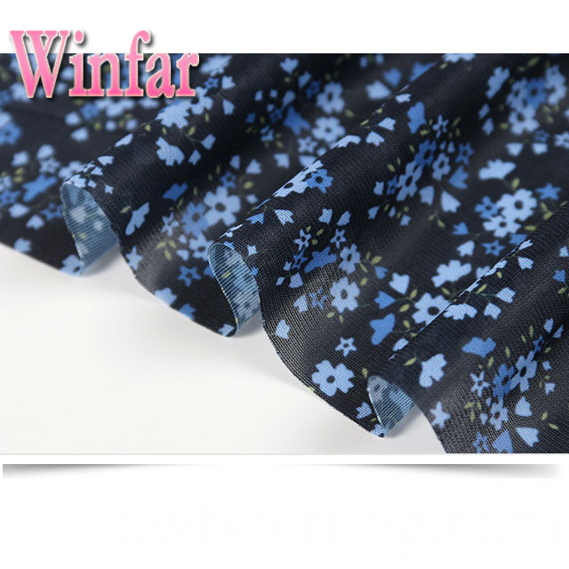 Flower Printed Polyester Knit Fabric