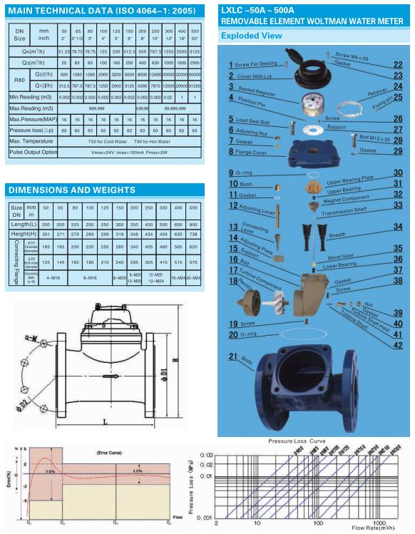 Horizontal Woltman Dry Type Cast Iron Water Meter