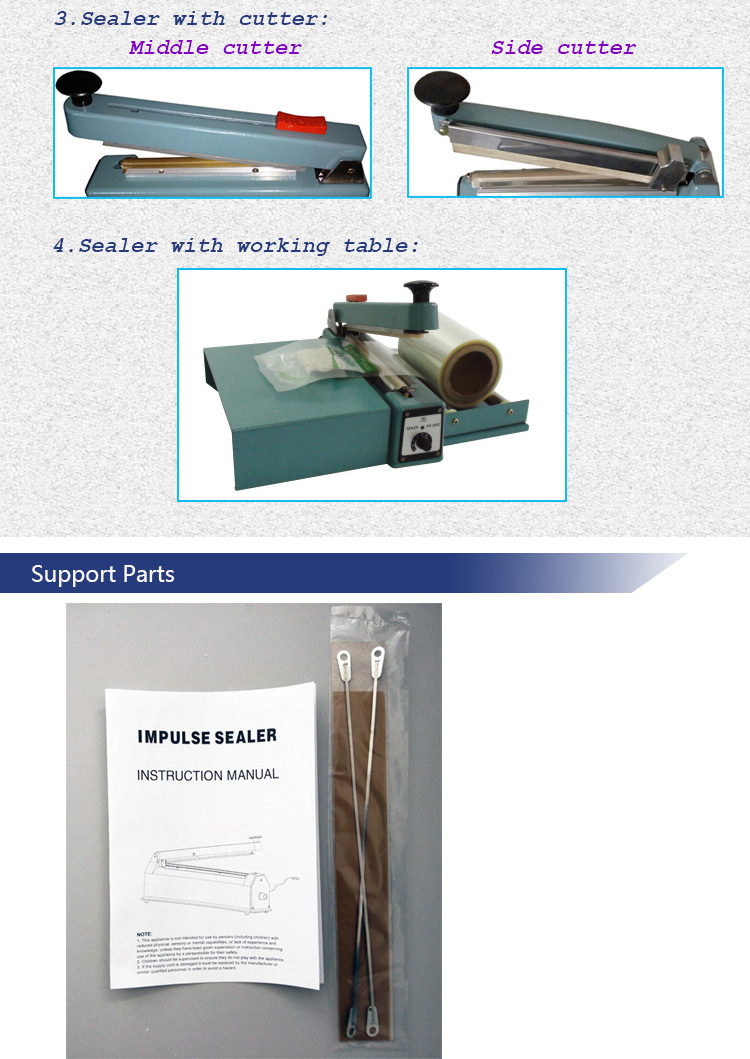 Manual Type Hand Press Sealing Device for PE PP POF PVC Glass Paper Heat Sealing with Metal Body