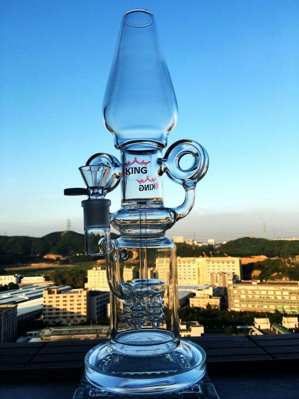 Tall Color Bowl Glass Craft Ashtray Shisha Hookah Borosilicate Recycler Glass Water Pipes Inventory for Tobacco Smoking Hookah