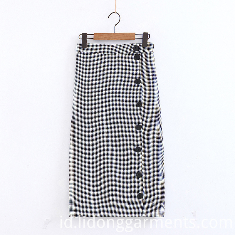 Black White Plaid Skirt