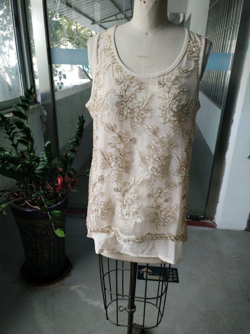Summer Fashion Gold Thread Embroidery Flower Women's Vest