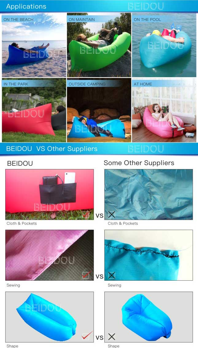 210t Nylon Square Air Bed Inflatable Sofa Sleeping Bag Laybag