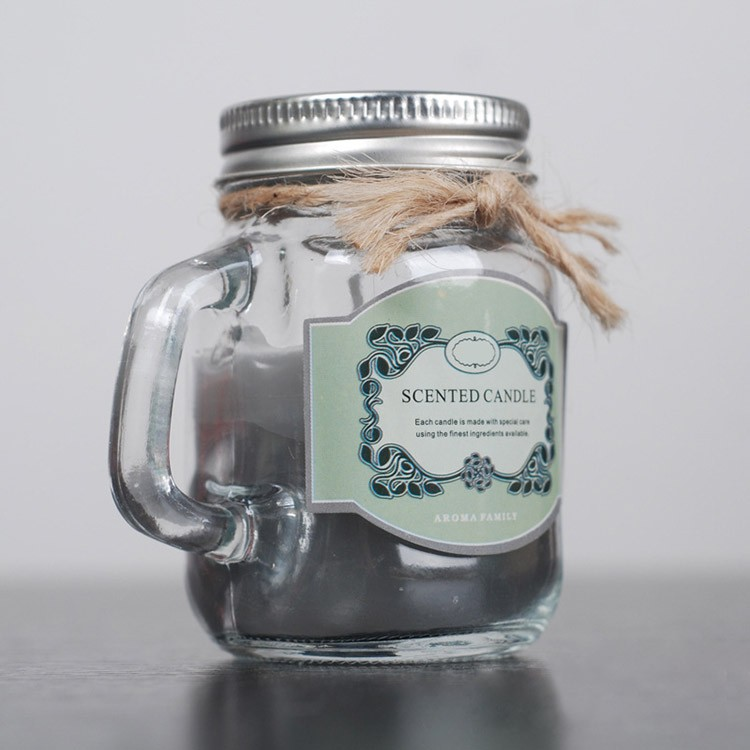 candle in mason jar