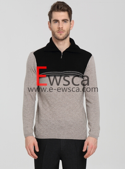 Men's Half -Zip Pure Cashmere Sweater with Black and White Colros