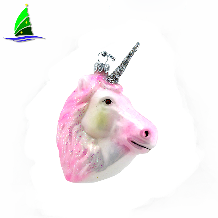 Handmade Glass Colorful Unicorn Ornament