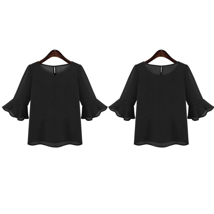 Fashion Ruffle Middle Sleeve Women Chiffon T-Shirt