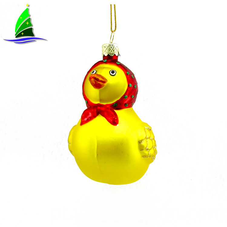 Yellow Duck Glass Ornament