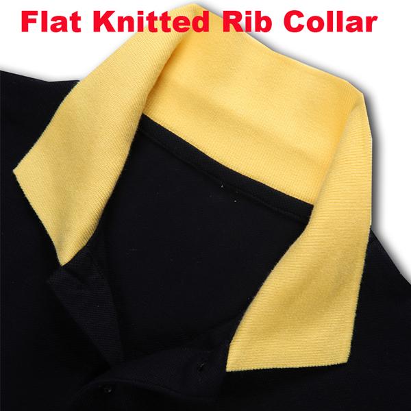 Black Men's Contrast Color Polo Shirt