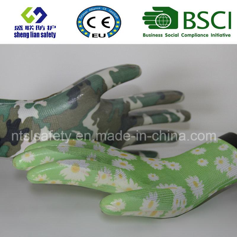 Safety Gloves Nitrile Coated Printed Garden Gloves (GN901)