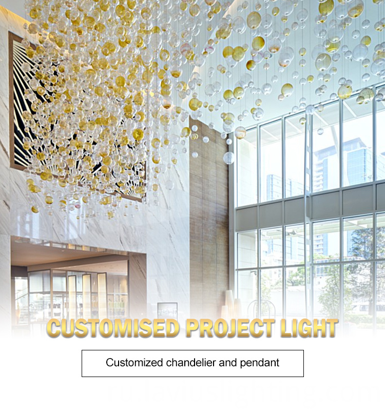 shopping mall crystal glass ball chandelier lamp