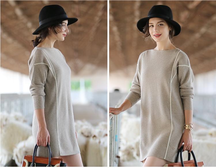 Women's Long Style Cashmere Sweater, Lady's Knitwear