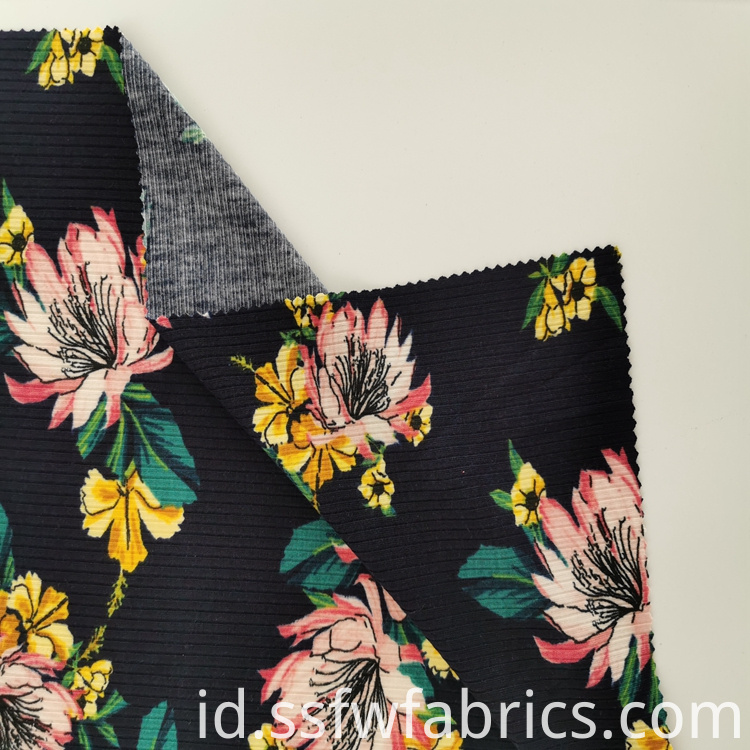 Black Red Flower Pattern Print Fabric