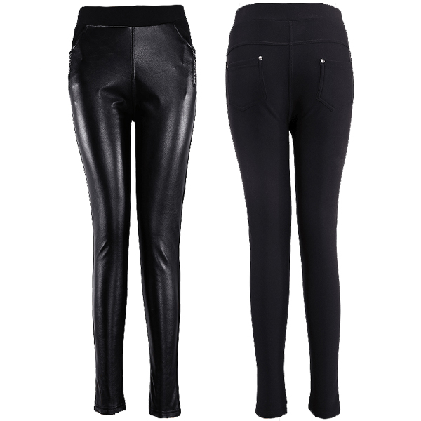 PU Leather Trimed Pants with Zipper Decoration