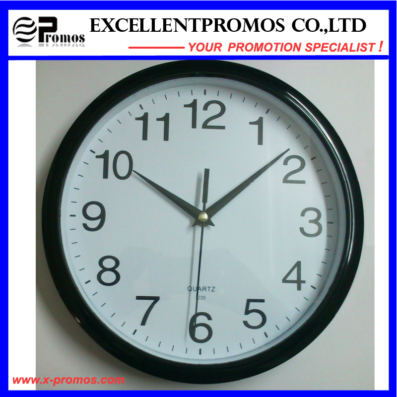 Silver Frame Logo Printing Round Plastic Wall Clock (Item22)