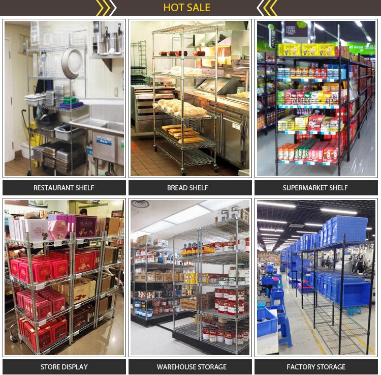Multifunction 4 Tiers Chrome Metal Wire Shop Display Shelf