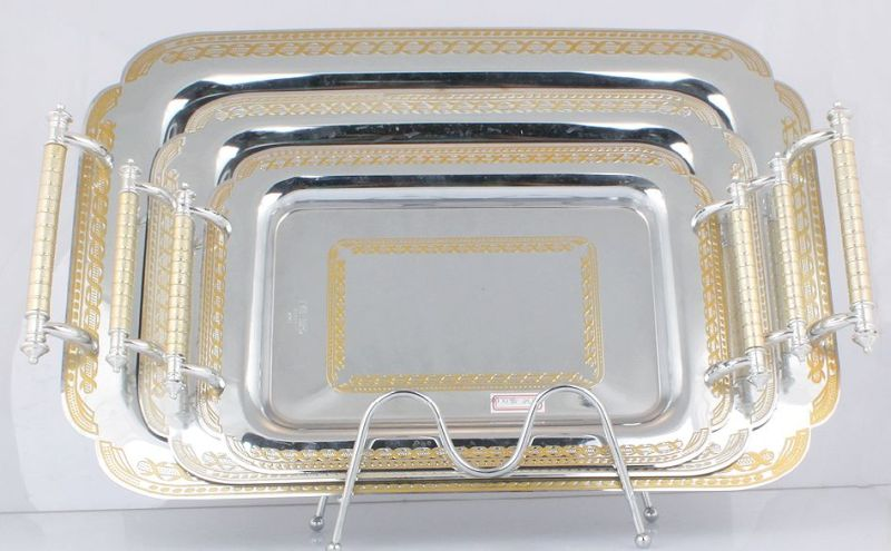 Stainless Steel Serving Tray/Plate in Silver and Golden (LFC10709-1)