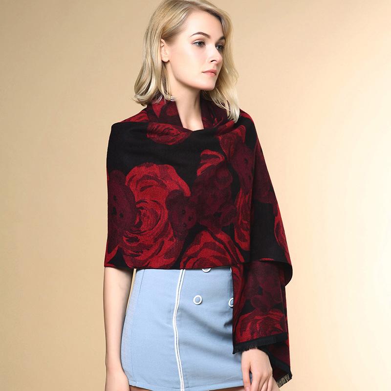 Lady Fashion Flower Bear Jacquard Acrylic Knitted Winter Shawl (YKY4516)