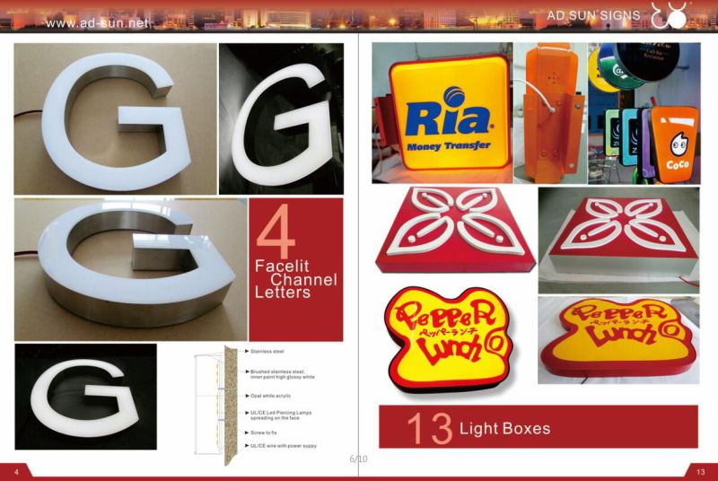 Stainless Steel Welding Edge Acrylic Surface Front Lit 3D LED Sign
