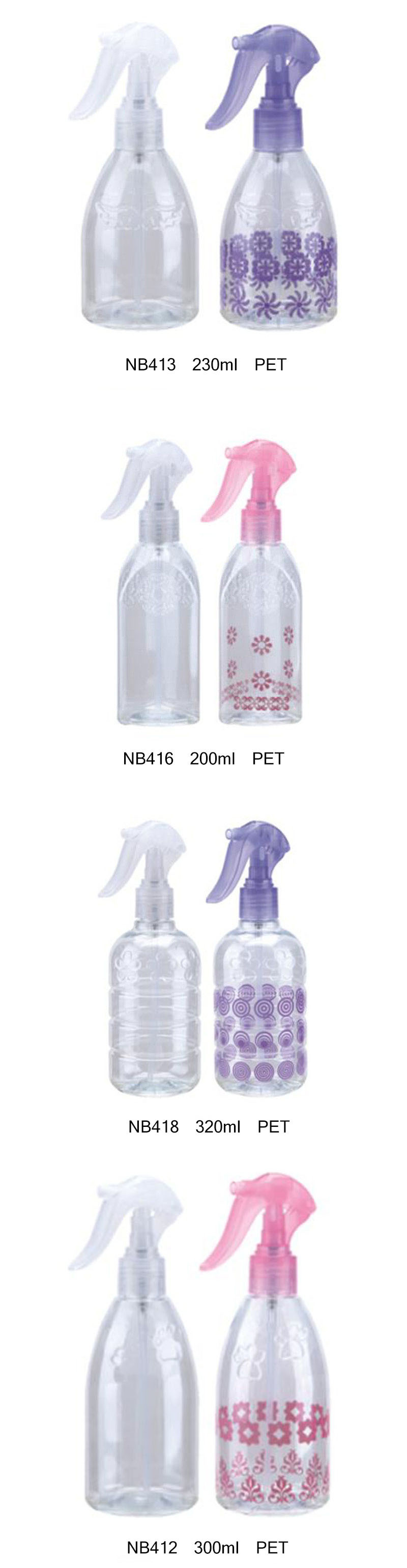 Plastic Trigger Sprayer Round Bottle for Cosmetics (NB412)