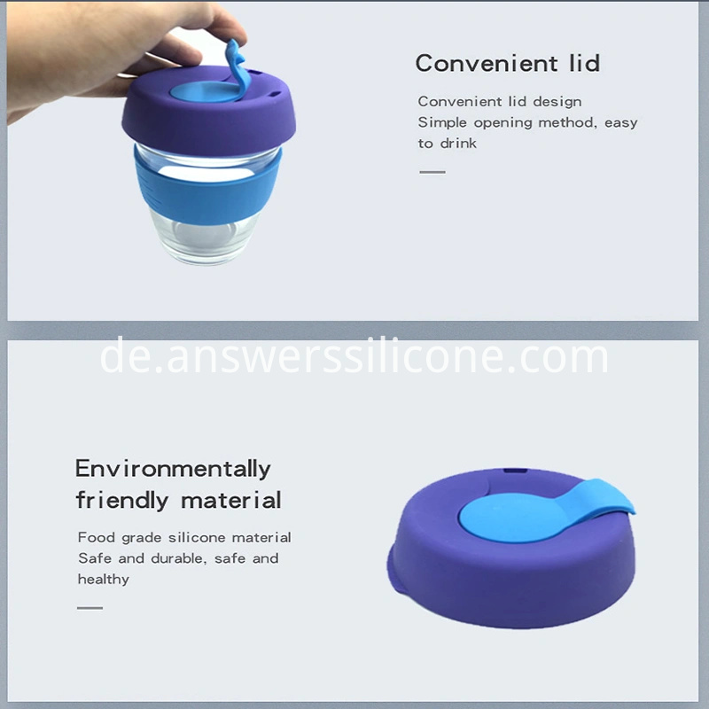 Insulation NonSlip Cup Protector Silicone Sleeves Rubber Lid