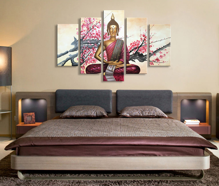 Hand Painted Buddha Oil Painting on Canvas Abstract Wall Art Decor Artwork