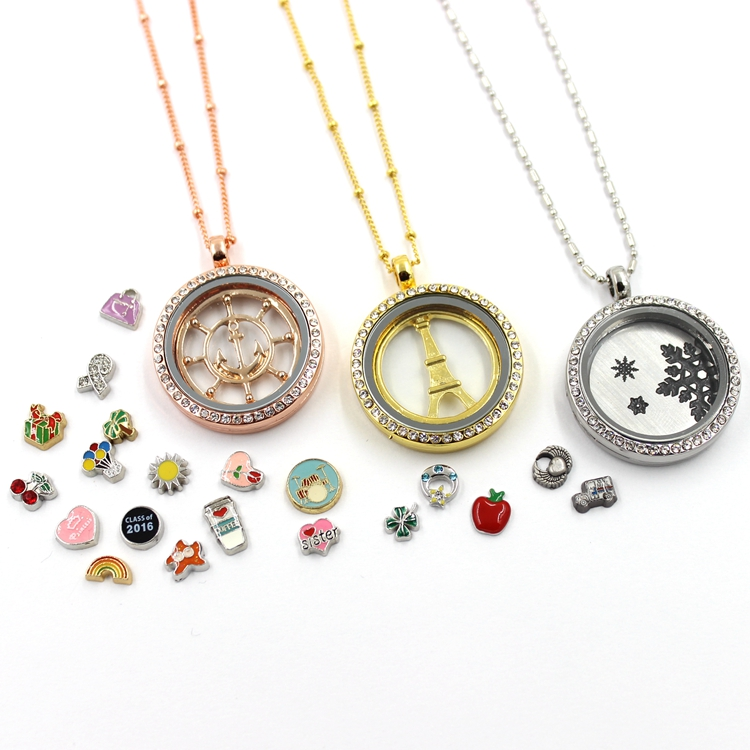Factory Supply Floating Glass Living Locket Jewelry Necklace Pendant
