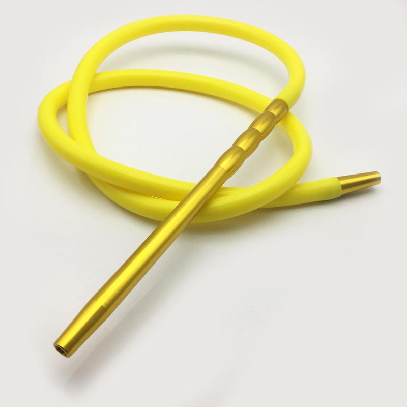 2m Metal Mouthpiece Shape Yellow Silicone Hookah Shisha Hose (ES-HH-016-4)
